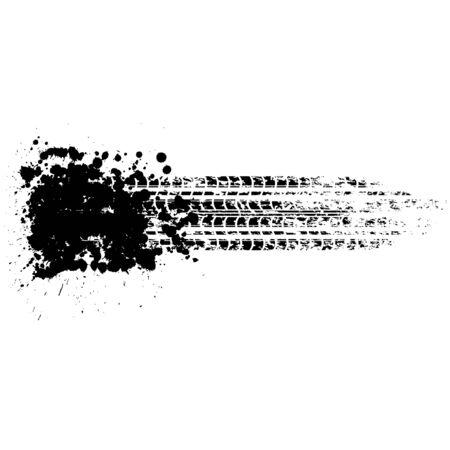 Black tire tracks grunge line