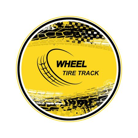 Circle tire track yellow background 向量圖像