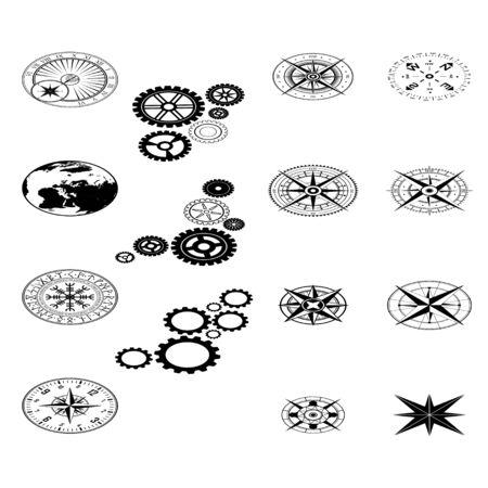 Isometric black design elements set 向量圖像