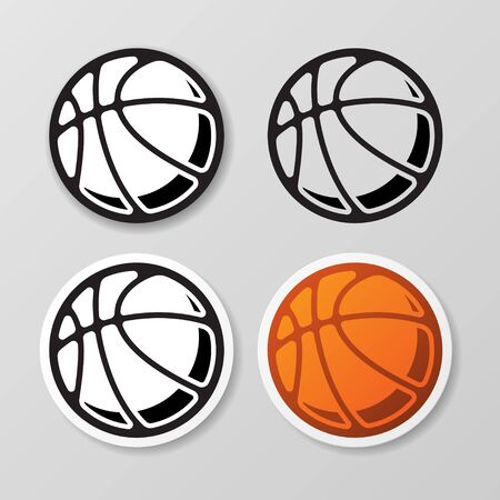 Basketball symbol stickers set