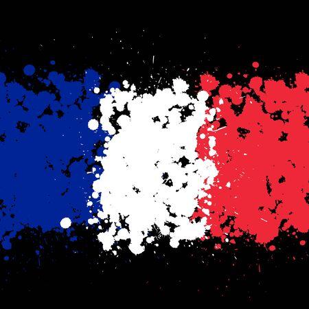 Grunge blots France flag background