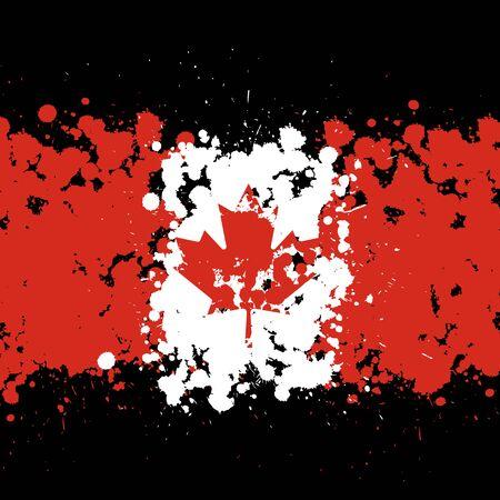 Grunge blots Canada flag background