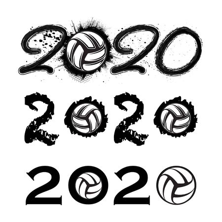Volleyball 2020 new year numbers 向量圖像