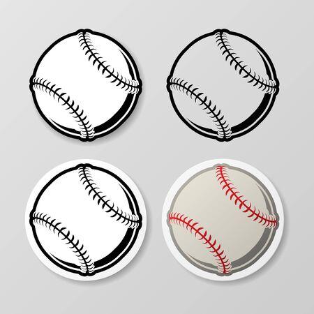 Baseball symbol stickers set 向量圖像