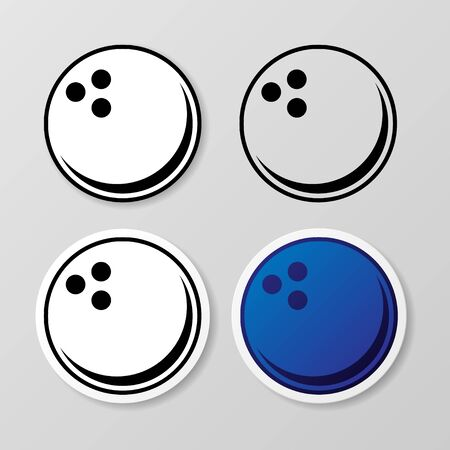 Bowling symbol stickers set