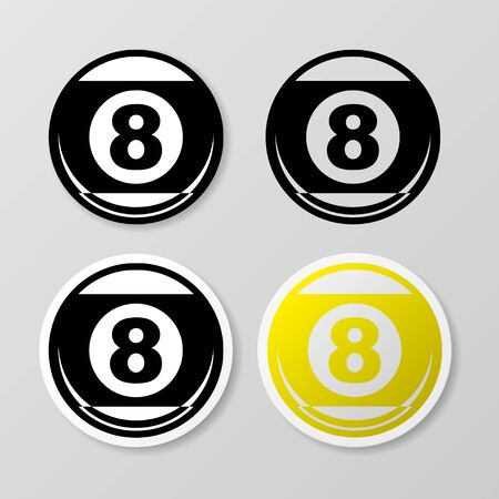Billiards symbol stickers set