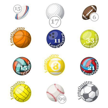 Color sport balls with names and numbers Ilustração