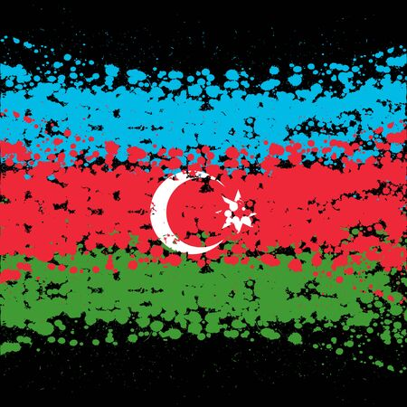 Grunge blots Azerbaijan flag background