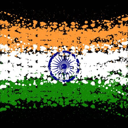 Grunge blots India flag background