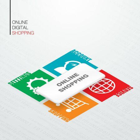 Isometric mobile phone shopping 向量圖像