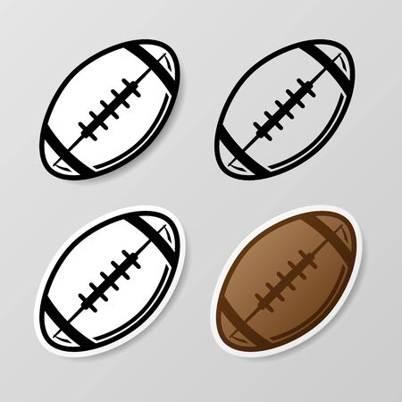 American football symbol stickers set