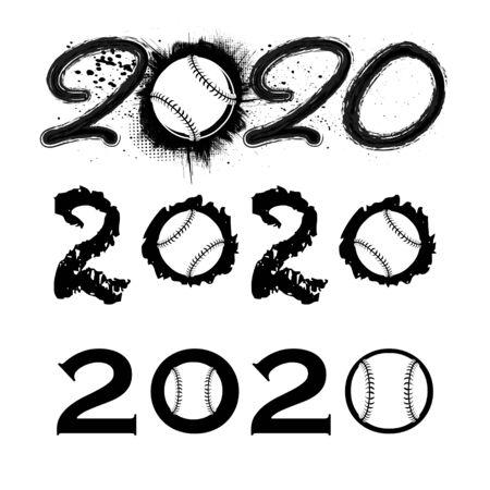 Baseball 2020 new year numbers 向量圖像