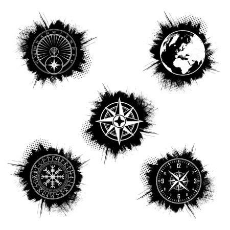 Grunge circle symbols set