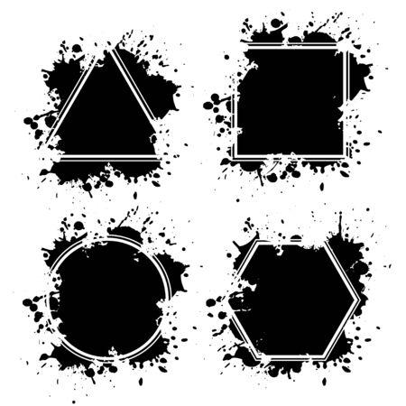 Ink blots grunge frames 일러스트