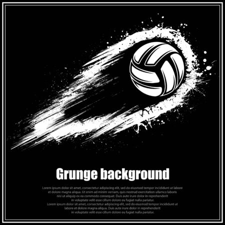 Grunge black volleyball background Ilustração