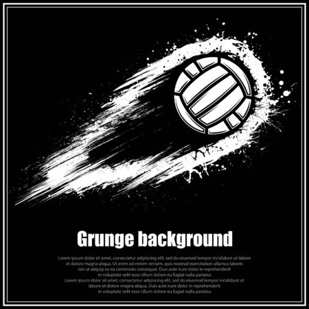 Black square poster with grunge movement waterpolo ball and sample text
