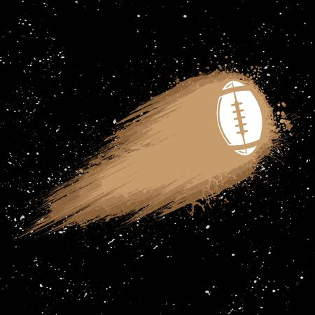 Black space background with American football ball comet symbol