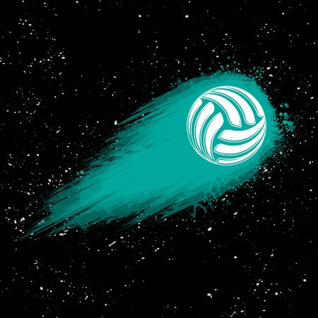 Black srace background with white stars and volleyball movement comet Ilustração
