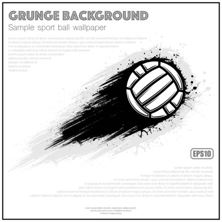 White poster with black waterpolo ball movement grunge path Ilustração