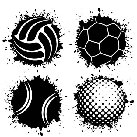 Set of four black grunge ink blots splash with sport balls symbols Ilustração
