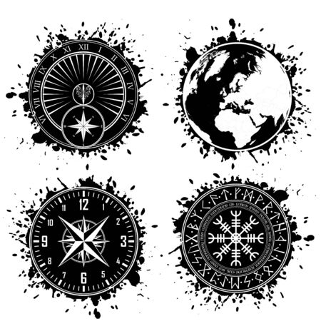 Four black grunge ink blots splash with differentt circle design elements Ilustração