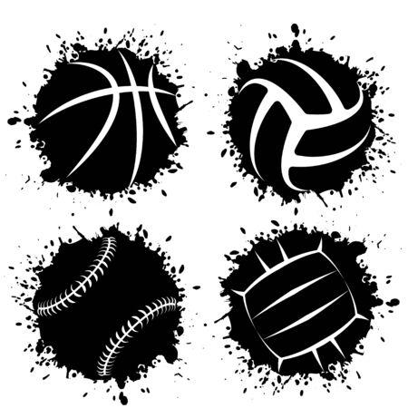 Ink blots grunge sport balls Иллюстрация