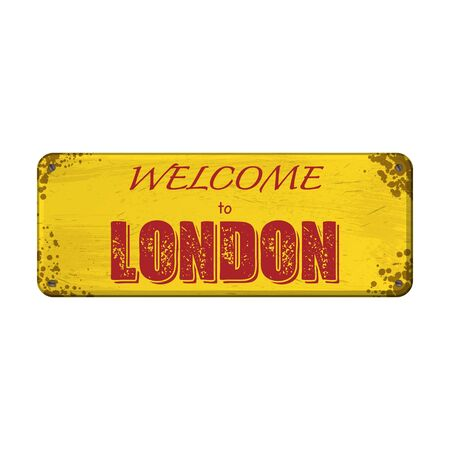 Yellow old grunge nameplate with rerd London text