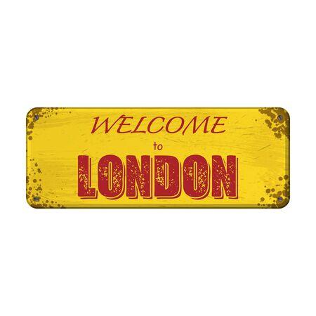 Yellow old grunge nameplate with rerd London text 版權商用圖片 - 131904978