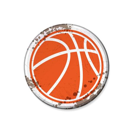 Grunge white circle board frame witth basketball isolated on white background