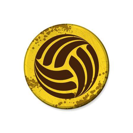 Circle yellow volleyball grunge frame