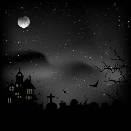 Halloween castle at night sky background with different elements