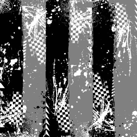 Black and gray grunge elements with tire tracks isolated on white background Ilustração