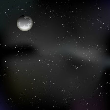 Black space background with stars and moon for Halloween wallpaper