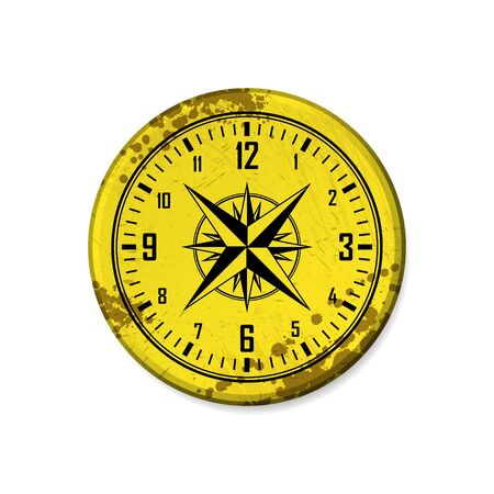 Grunge yellow circle board frame with clock isolated on white background