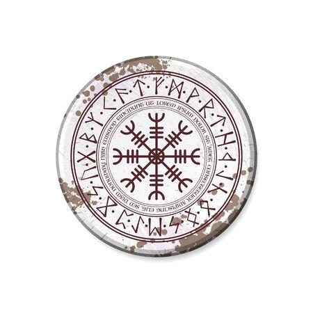 Grunge white circle board frame with symbol isolated on white background 向量圖像