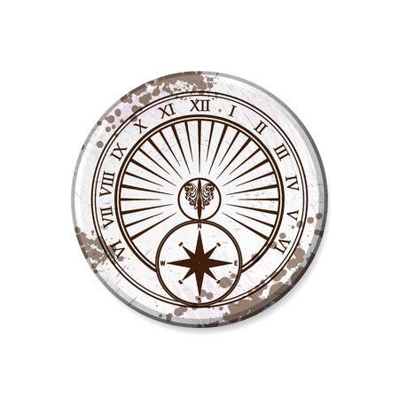 Grunge white circle board frame with sundial isolated on white background