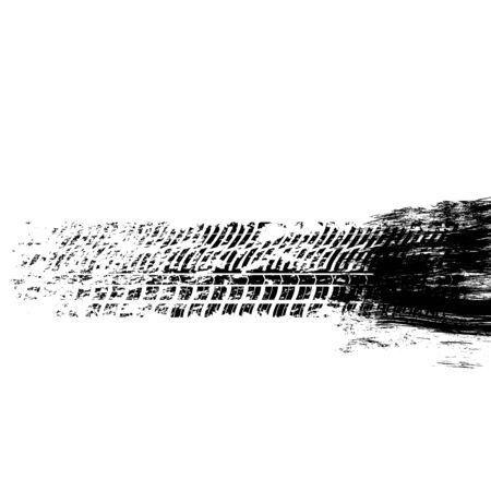 White background with black gringe splash and tire track Иллюстрация