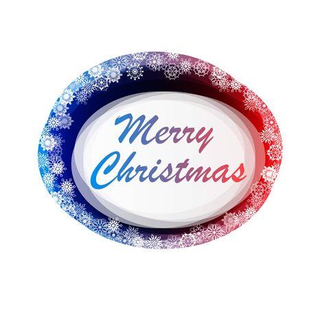 Cadre abstrait ellipse avec texte joyeux Noël et flocons de neige