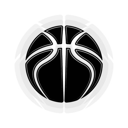 Black abstract basketball symbol isolated on white background 版權商用圖片 - 135075556
