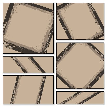 Brown grunge frames set with tire tracks isolated on white background