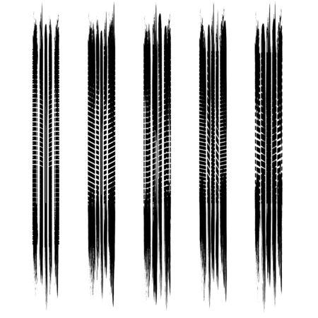 Set of black grunge tire track silhouettes isolated on white background 版權商用圖片 - 137794565