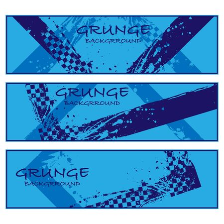 Blue grunge banners set with race elements isolated on white background