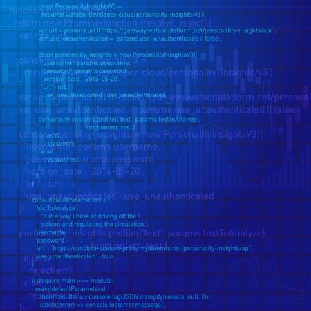 Blue abstract background with digital program code