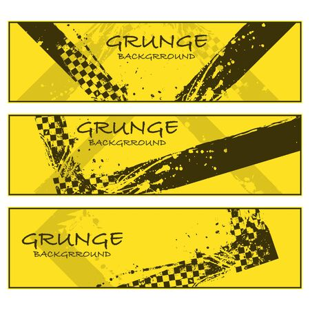 Yellow grunge banners set with race elements isolated on white background