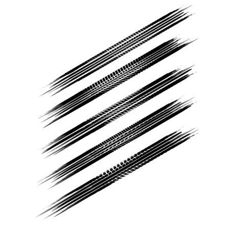 Five grunge isometric tire tracks paths