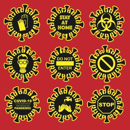 Coronavirus black and yellow signs set