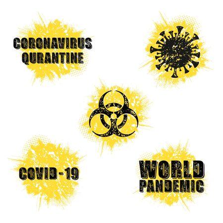 Grunge circle virus symbols set