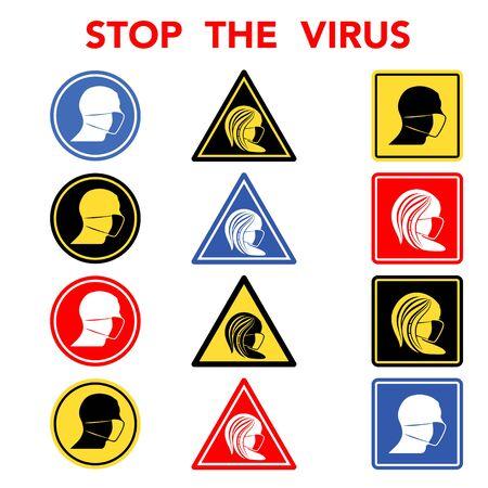 Virus human faces signs set