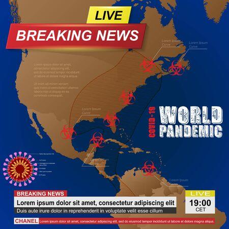 USA coronavirus news background 向量圖像