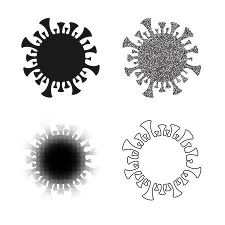 Virus black signs set background